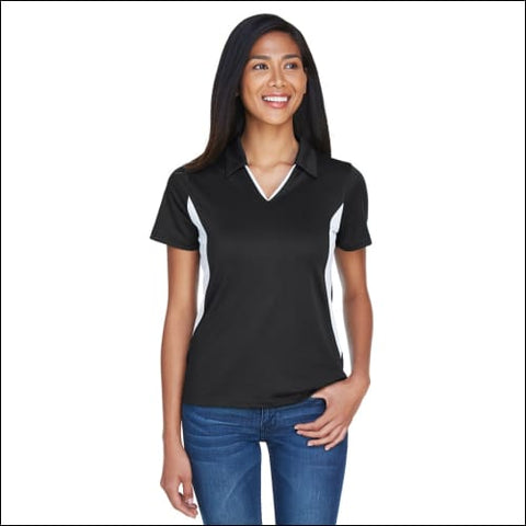 Ladies Side Blocked Micro-Piqué Polo - BLACK/ WHITE / S - Harriton 00882849169601