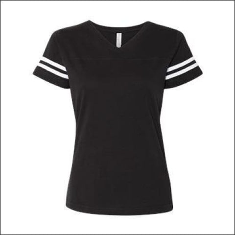 LAT - Womens Football V-Neck Fine Jersey Tee - Black Solid/ White / S - LAT 00052987040920