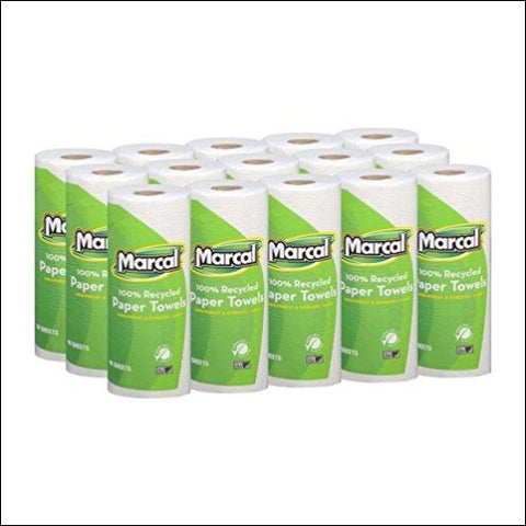 Marcal Paper Towels 100% Recycled 2-Ply 60 Sheets Per Roll - Case of 15 Individually Wrapped Green Seal Certified 06709 - Marcal 43032246404