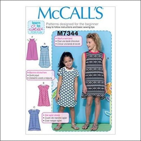 McCalls Patterns M7344 Childrens/Girls Raglan Sleeve Knit Dresses Size CHJ (7-8-10-12-14) - McCalls Patterns 0023795581004