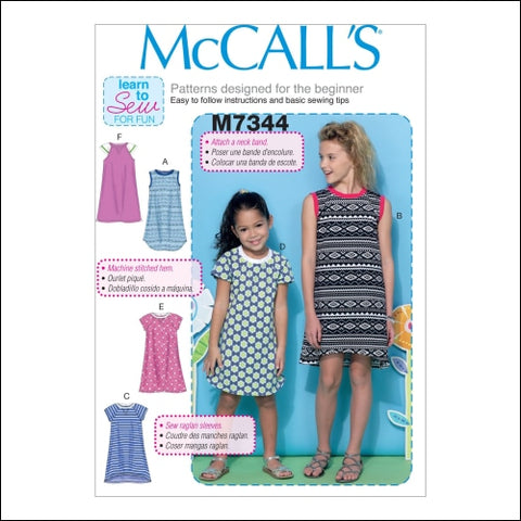 McCalls Patterns M7344 Childrens/Girls Raglan Sleeve Knit Dresses Size CHJ - McCalls Patterns 0023795581004