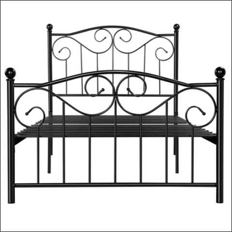 Metal Twin Size Bed with Headboard and Footboard Black - SmileMart 0846253217600