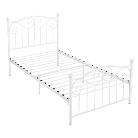 Metal Twin Size Bed with Headboard and Footboard White - SmileMart 0846253217594