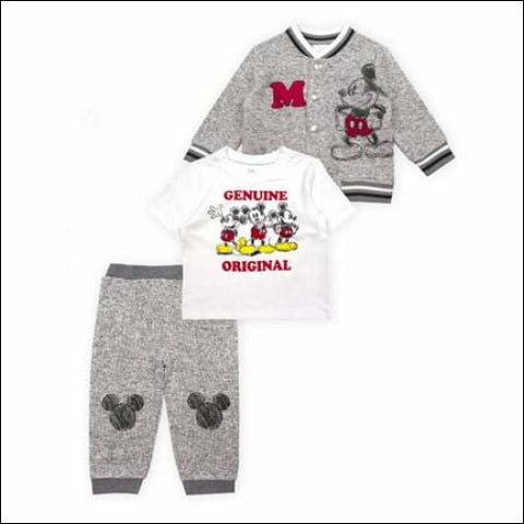 Mickey Mouse Microfleece Jacket Short Sleeve T-Shirt & Pants 3pc Outfit Set (Baby Boys) - Mickey Mouse 0190716998156