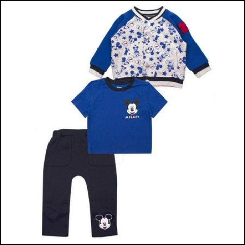 Mickey Mouse Microfleece Jacket Short Sleeve T-Shirt & Pants 3pc Outfit Set (Baby Boys) - Mickey Mouse 0190716998064