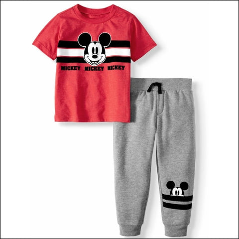 Mickey Mouse Short Sleeve Graphic T-shirt & Drawstring Fleece Jogger 2pc Outfit Sets (Toddler Boys) - Mickey Mouse 0193058046448