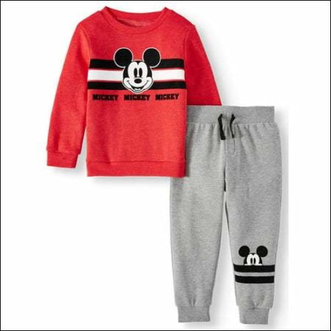 Mickey Mouse Toddler Boys Long Sleeve Graphic T-shirt & Drawstring Fleece Jogger Pant 2pc Outfit Sets - Mickey Mouse 0193058046097