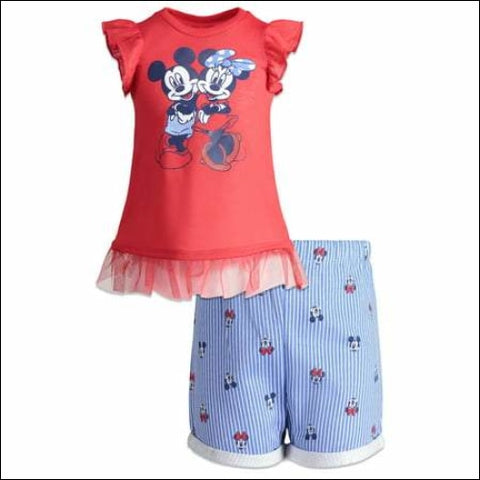 Minnie Mouse Ruffle Sleeve T-shirt and Printed Shorts 2pc Outfit Set (Toddler Girls) - Minnie Mouse 0024054022238