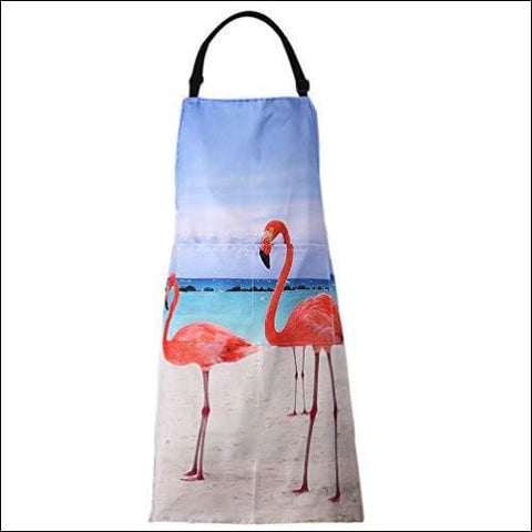 MissOwl Adjustable Bib Apron Extra Long Ties with Pockets Home Kitchen Cooking Baking Gardening Apron for Women Men Flamingo - MissOwl