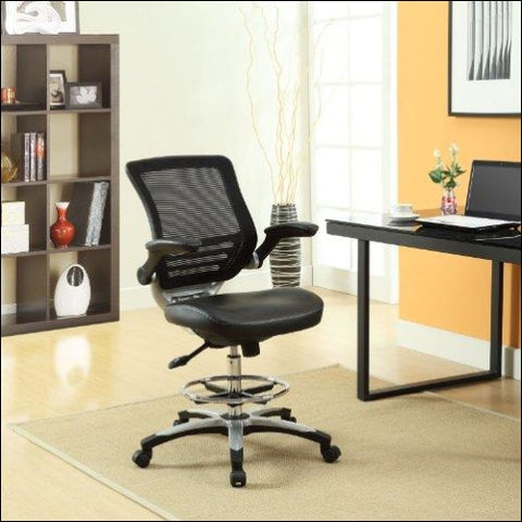 Modway Edge Drafting Chair In Black Vinyl - Reception Desk Chair - Tall Office Chair For Adjustable Standing Desks - Flip-Up Arm Drafting