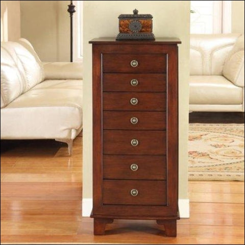 Nathan Cayman 7 Drawer locking Jewelry Armoire - Brown - Nathan Direct 0816302010643