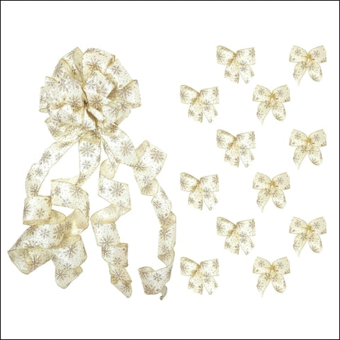New Traditions Simplify Your Holiday Large Christmas Tree Topper Bow and 12 Mini Bows - Ivory Satin Wired Ribbon with Gold Glitter