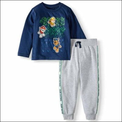 Paw Patrol Long Sleeve Graphic T-shirt & Taped Drawstring Fleece Jogger 2pc Outfit Sets (Toddler Boys) - PAW Patrol 0193058046059