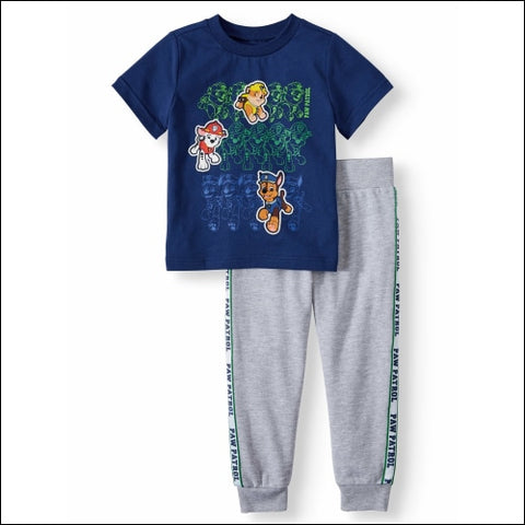 Paw Patrol Short Sleeve Graphic T-shirt & Taped Drawstring Fleece Jogger 2pc Outfit Sets (Toddler Boys) - PAW Patrol 0193058046417