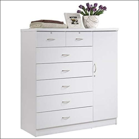 Pemberly Row Tall 7 Drawer Chest with 2 Locking Drawers and Garment Rod or Extra Storage in White - Pemberly Row 0680270634985