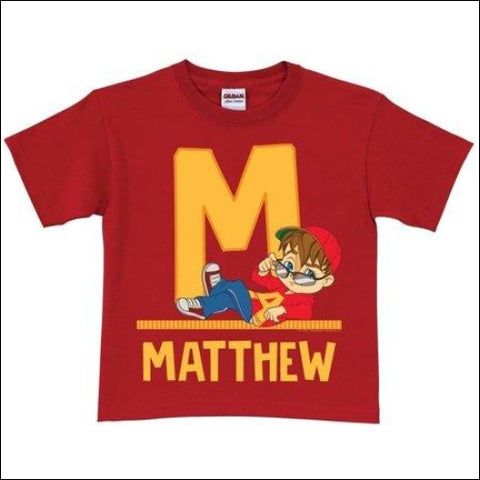 Personalized Alvin and the Chipmunks Toddler Initial T-Shirt Red - Alvin and the Chipmunks 0639211533429
