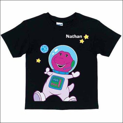 Personalized Barney Astronaut Toddler T-Shirt Black - Barney & Friends 0639211947875