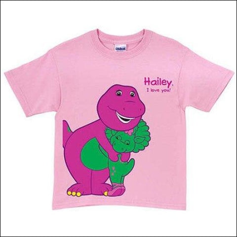 Personalized Barney & Baby Bop Pink Toddler Girl T-Shirt - Barney 0639211930402