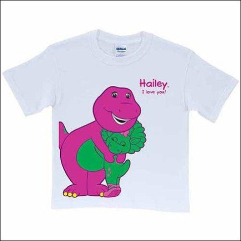 Personalized Barney & Baby Bop Toddler T-Shirt White - Barney 0639211948308