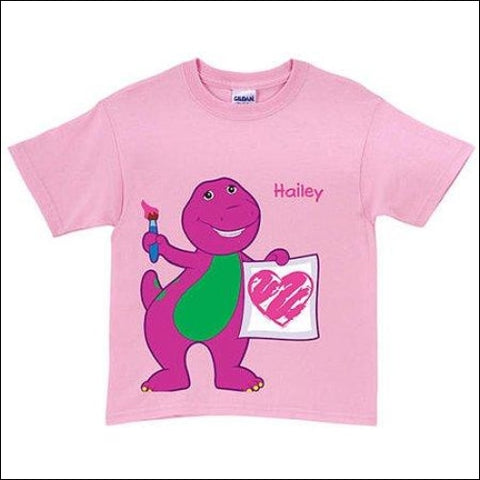 Personalized Barney & Friends Painting Pink Toddler Girl T-Shirt - Barney 0639211930129