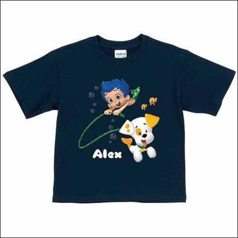 Personalized Bubble Guppies Bubble Puppy and Gil Toddler Boy Navy T-Shirt - Bubble Guppies 0639211995333