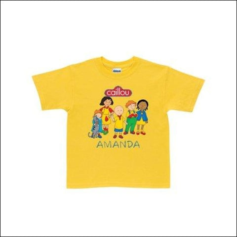 Personalized Caillou Friends Yellow Toddler T-Shirt - Caillou 0639211930709