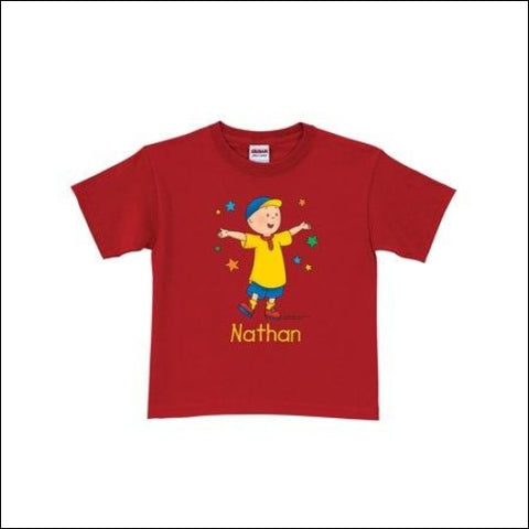 Personalized Caillou Stars Toddler Red T-Shirt - Caillou 0639211828570