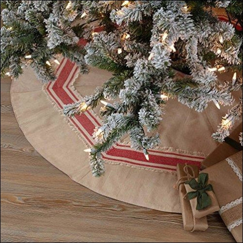 Piper Classics Farmhouse Red Stripe Tree Skirt 48 Diameter Country Farmhouse Christmas and Holiday Seasonal Decor - Piper Classics