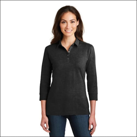 Port Authority Ladies 3/4-Sleeve Meridian Cotton Blend Polo. L578 - Black / XS - Port Authority 191265122474