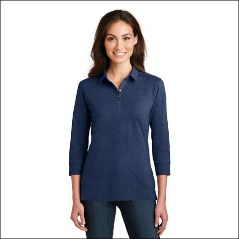 Port Authority Ladies 3/4-Sleeve Meridian Cotton Blend Polo. L578 - Estate Blue / XS - Port Authority 191265291019
