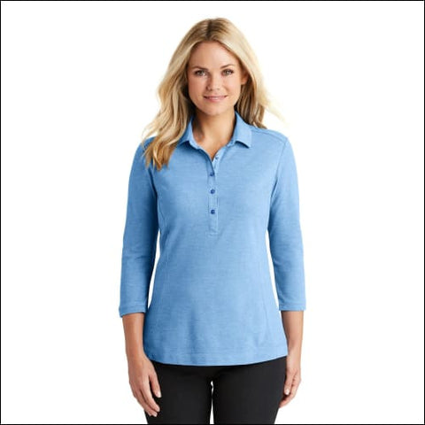 Port Authority Ladies Coastal Cotton Blend Polo. LK581 - Moonlt Blue/Wh / XS - Port Authority 191265555975
