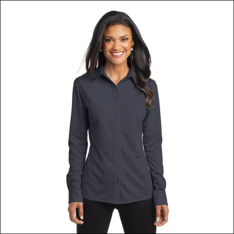 Port Authority Ladies Dimension Knit Dress Shirt. L570 - Battleship Gry / XS - Port Authority 191265262699