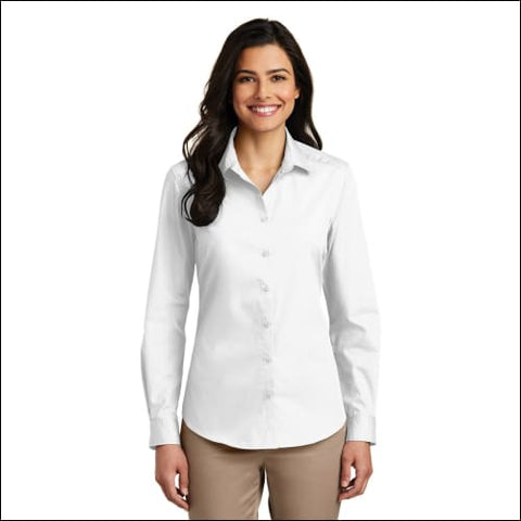Port Authority Ladies Long Sleeve Carefree Poplin Shirt. LW100 - White / XS - Port Authority 191265558112