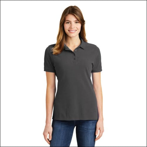 Port & Company Ladies Ring Spun Pique Polo. LKP1500 - Charcoal / XS - Port & Company 191265695213