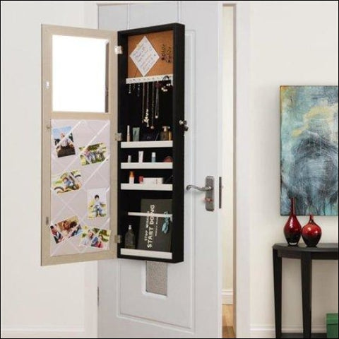 Posh Living Parker Over-the-Door Jewelry Armoire Makeup Storage Organizer - Black - Posh Living 0686925561033