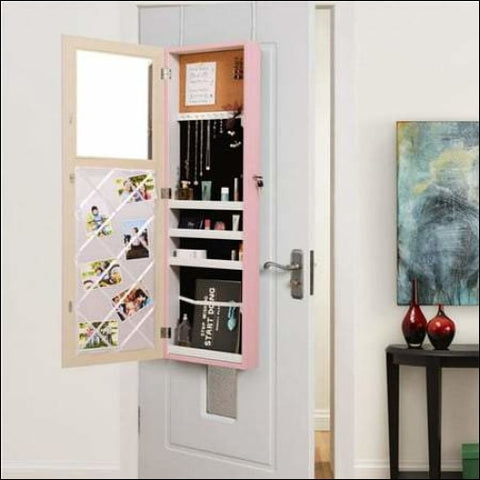 Posh Living Parker Over-the-Door Jewelry Armoire Makeup Storage Organizer - Blush - Posh Living 0686925561026