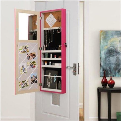 Posh Living Parker Over-the-Door Jewelry Armoire Makeup Storage Organizer - Fuchsia - Posh Living 0686925561040