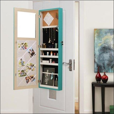 Posh Living Parker Over-the-Door Jewelry Armoire Makeup Storage Organizer - Turquoise - Posh Living 0686925561064