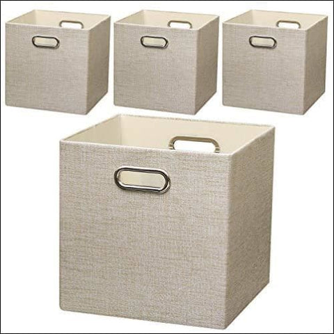 Posprica Collapsible Storage Cubes 1111 Heavy Duty Fabric Stroage Bins 4pcs Beige - Posprica 0728360713667