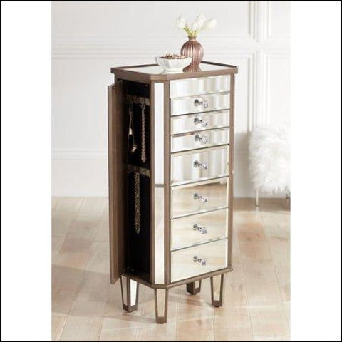 Powell Vicenta 40 1/2 High 7-Drawer Mirrored Jewelry Armoire - Powell 0081438476582