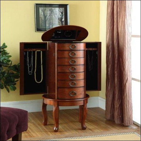 Powell Woodland Cherry Jewelry Armoire - Powell 0081438464329