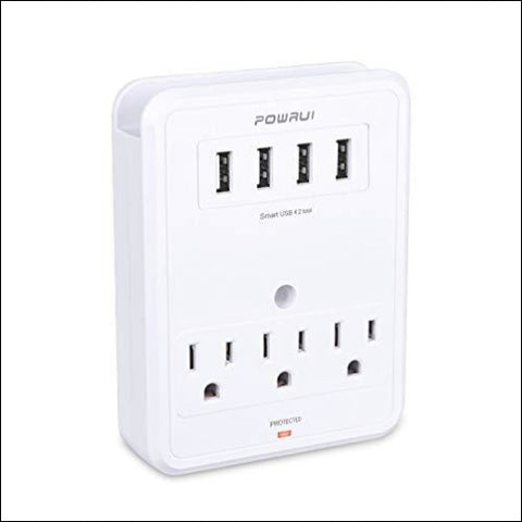 POWRUI Multi Wall Outlet Adapter Surge Protector 1680 Joules with 4-USB Ports Wall Charger Wall Mount Charging Center 3 Outlet Wall Mount