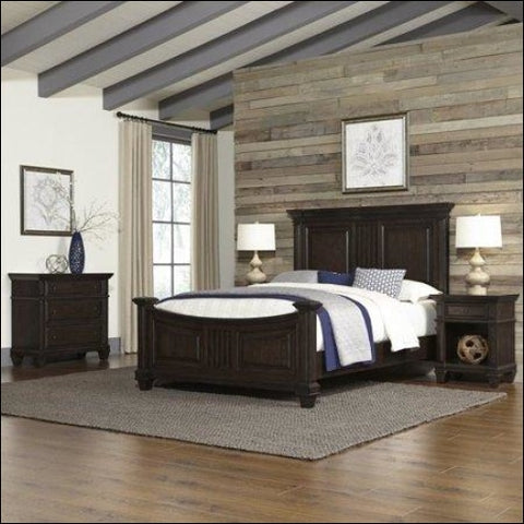 Prairie Home Queen Bed Two Night Stands and Chest -Black -Queen - Homestyles 0095385047719