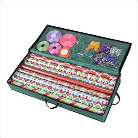 Primode Storage Organizer for 30 Inch Wrapping Paper Ribbon and Bows Durable 600D Oxford Material (Green) - Primode 0758182982675