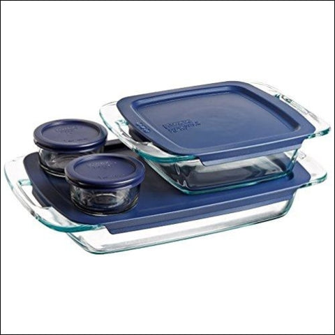Pyrex 1093839 Easy Grab Glass Bakeware and Food Storage Set 8-Piece Clear - Pyrex 782195438713