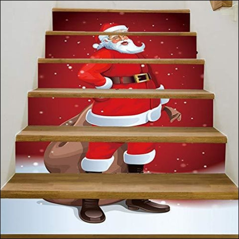 re2chiOngs Christmas Sticker Santa Pattern Stairs Stickers Decal Xmas Durable Home Office Decor (6Pcs/Set - re2chiOngs