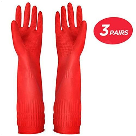 Rubber Cleaning gloves Kitchen Dishwashing glove 3-Pairs Waterproof Reuseable. (Large) - YSLON 7.2374E+11