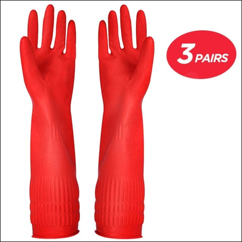 Rubber Cleaning Gloves Kitchen Dishwashing Glove 3-Pairs Waterproof Reuseable. - YSLON 0723740135305