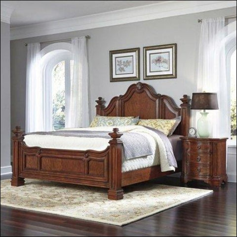 Santiago King Bed and Night Stand -Brown -King - Homestyles 0095385018313