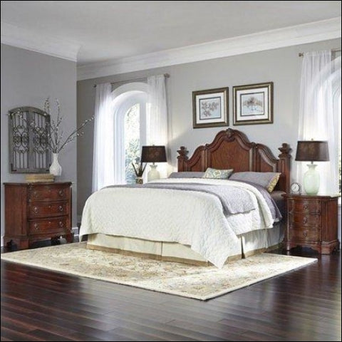 Santiago King/California King Headboard Two Night Stands and Chest -Brown -King - Homestyles 0095385018283